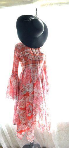 Red Grunge Flannel, Stevie Nicks style Gypsy coat, Bohemian duster, Fall festival Kimono Jacket, Boho Clothing, True rebel clothing Lg