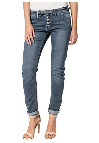 Eight2Nine Damen Sweat Jeans im Boyfriend Style   Jogg-Jeans mit Kordel  Middle-Blue L. STYLE  Hol dir die bequeme Sweat Hose in Jeans Optik. 1a2138778a