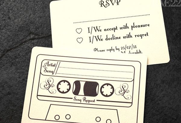 cool wedding invitation idea - let the guests choose their favourite music to be added to the dj's playlist
