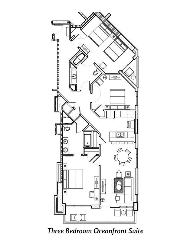 Three Bedroom Suite Disneyland Hotel Layout: Three Bedroom Oceanfront Suite Floor Plan For Ocean 22 By