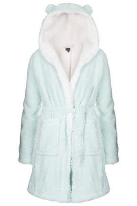 love this mint colour! and the ears, this is the perfect dressing gown!!!, omg.