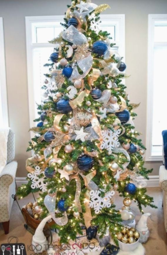 Christmas Tree Themes Colors Christmas Christmastree Christmastime Chr In 2020 Blue Christmas Tree Decorations Elegant Christmas Trees Gold Christmas Decorations