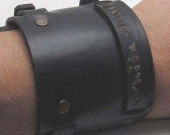 Pulsera de cuero de los hombres | pulsera personalizada | Brazalete pulsera cuero, pulsera de los hombres de negro con cierre de hebilla de cinturón ajustable plateado plata