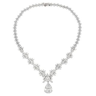 Icz Stonez Sterling Silver CZ Exquisite Wedding Necklace | Overstock.com Shopping - The Best Deals on Cubic Zirconia Necklaces