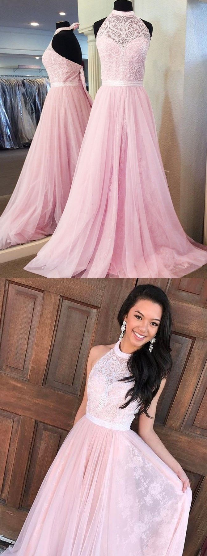 pink halter prom party dresses with backless, fashion formal gowns with beaded for special occasion.