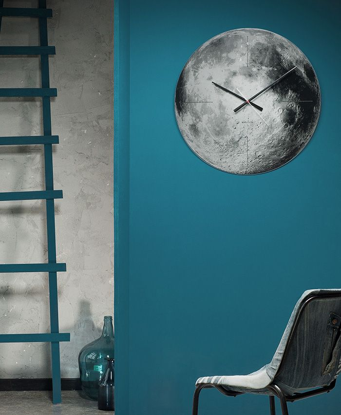 Large 60 cm mirror moon clock. Deep grey and black silk printed layers combined with the mirror surface created the silver moon experience.