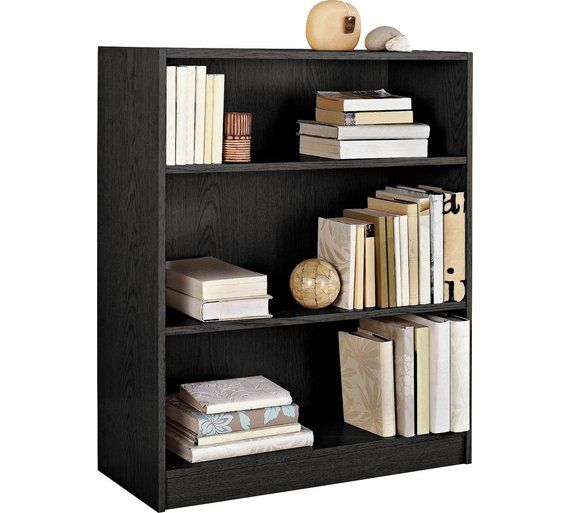 Home Maine Small Extra Deep Bookcase Black Ash 25 49