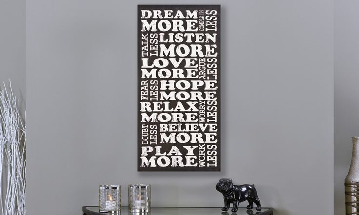 Black & White Canvas Wall Print, Dream More  15.8 x 31.5