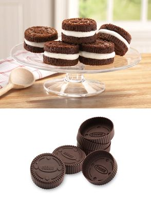 Cookie Pans Set of 6  http://www.collectionsetc.com/Product/mini-sandwich-cookie-oven-safe-silicone-pans-set-of-6.aspx/_/N-8t62d1#