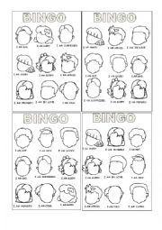 English worksheet: Feelings Bingo Part 1/2