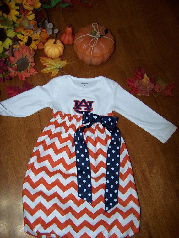 Auburn baby gown or dress by TinasPumpkinPatch on Etsy, $25.00