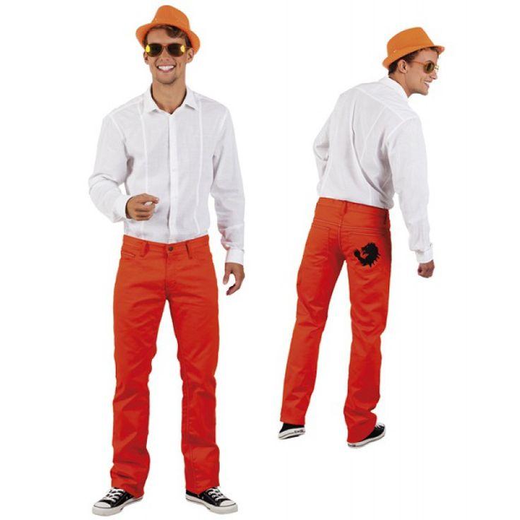 Oranje spijkerbroek in diverse maten.Laat zien dat je voor oranje bent tijdens het WK in Rusland en hijs je in deze prachtige oranje jeans!
