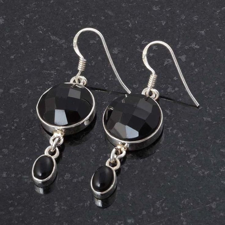 925 FINE STERLING SILVER BLACK ONYX CHAKER CUT EARRING 7.43g DJER3061 #Handmade #EARRING