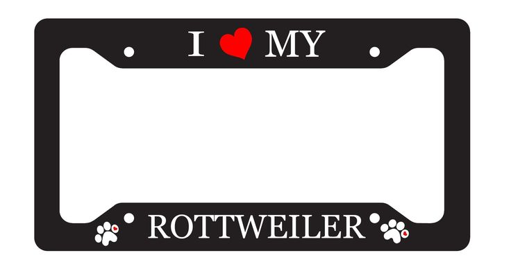 "I Love My Rottweiler Terrier License Plate Frame Sublimation Printed All Breeds Available. License Plate Frame in .030 gauge aluminum sublimation printed to last for years. Will not fade or rust. Pre-drilled, Screws available from any car parts store or local hardware store. Lightweight, durable and will not rust.Frames are 6.5"" x 12.25"" x .030."" Fully customizable just shoot us an email with your design ideas. Multiple colors available. As always all out products are made in out shop in…"
