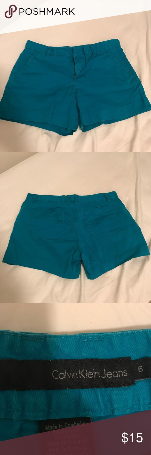 Calvin Klein teal shorts Teal trouser style Calvin Klein shorts with 3 inch inseam.  They have been worn a few times and show some minor fading around the edges but otherwise are in good condition. Calvin Klein Jeans Shorts