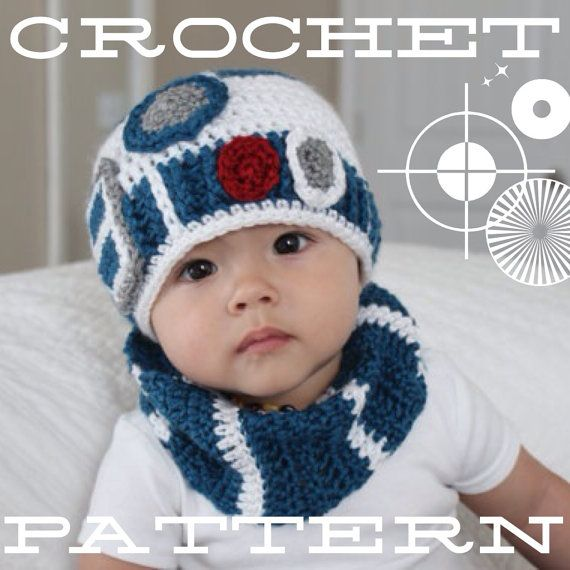 Knitting Pattern For R2d2 Hat : Crochet Pattern for R2-D2 crochet baby hat inspired by Star Wars crochet ...