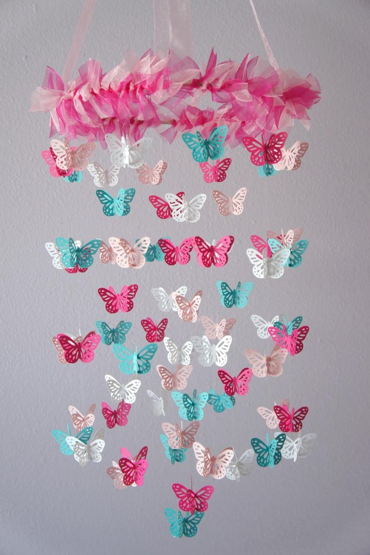 For Emma's room--- Hot Pink & Aqua Butterfly Mobile...could also be a nursery mobile and a good baby shower gift