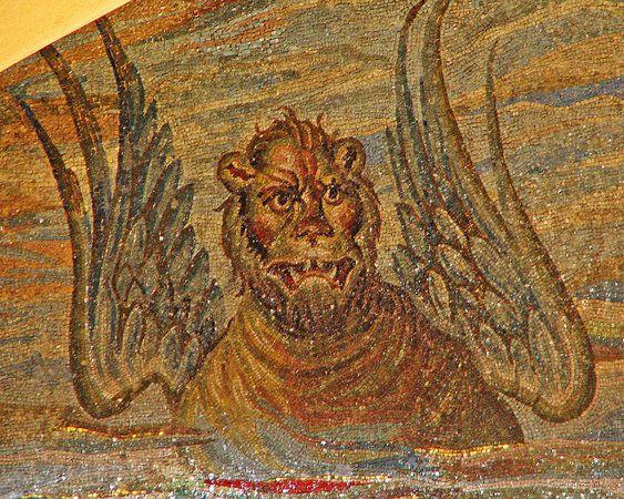 Santa Pudenziana, 4th century. Winged lion representing St Mark, apse mosaic. Early Christian   Khan Academy
