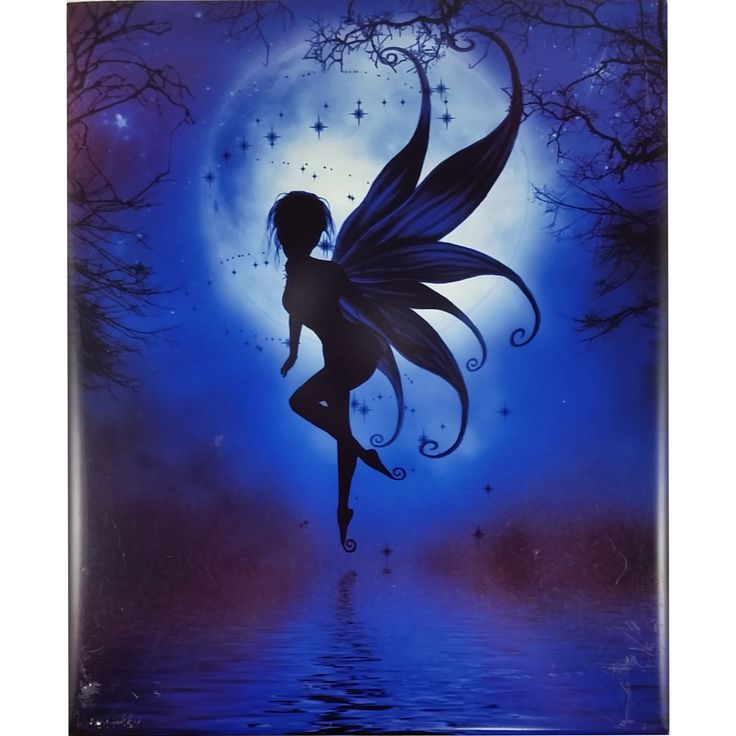 Indigo Fairy Art Tile Julie Fain 10x8 in Fairies Fantasy m263