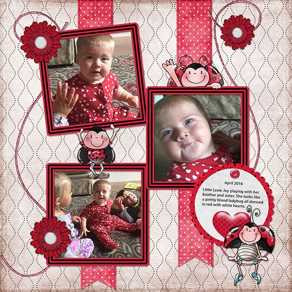 Ladybug Hug: I couldn't resist the character frames that perfectly fit my great-granddaughter's photos!
