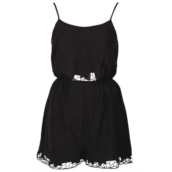 TOPSHOP Black Lace Cut Work Playsuit (265 MXN) ❤ liked on Polyvore featuring jumpsuits, rompers, dresses, playsuits, vestidos, black, black romper, black jumpsuit romper, lace romper e romper jumpsuit