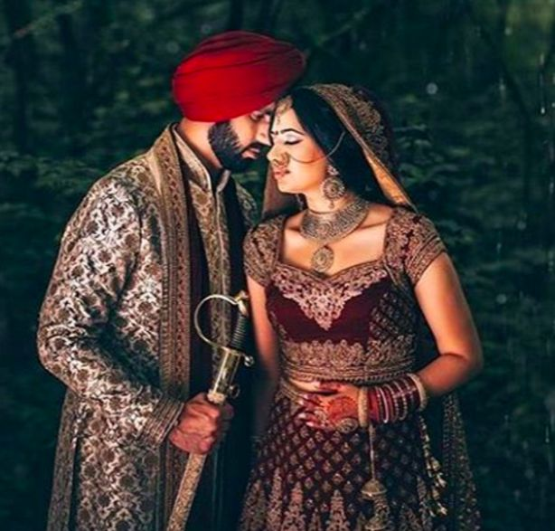 """I love you for all that you are, all that you have been, and all you are yet to be."" Here's a beautiful shot of our clients both dressed in #Wellgroomedinc designed pieces for their wedding ceremony. Congratulations to the beautiful couple ❤️ ✨   #allthingsbridal #indianfashion #wedding #bride #style #fashion #designer #glamour #makeup #married #beautiful #indian #punjabi #sikh"