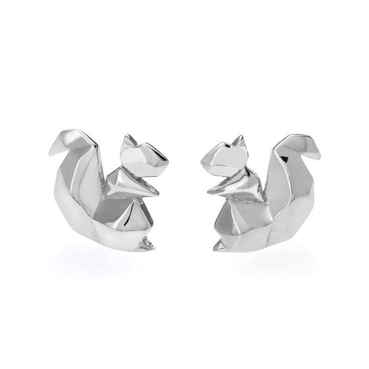 John Greed Origami Safari Squirrel Rhodium Plated Silver Stud Earrings | John Greed Jewellery