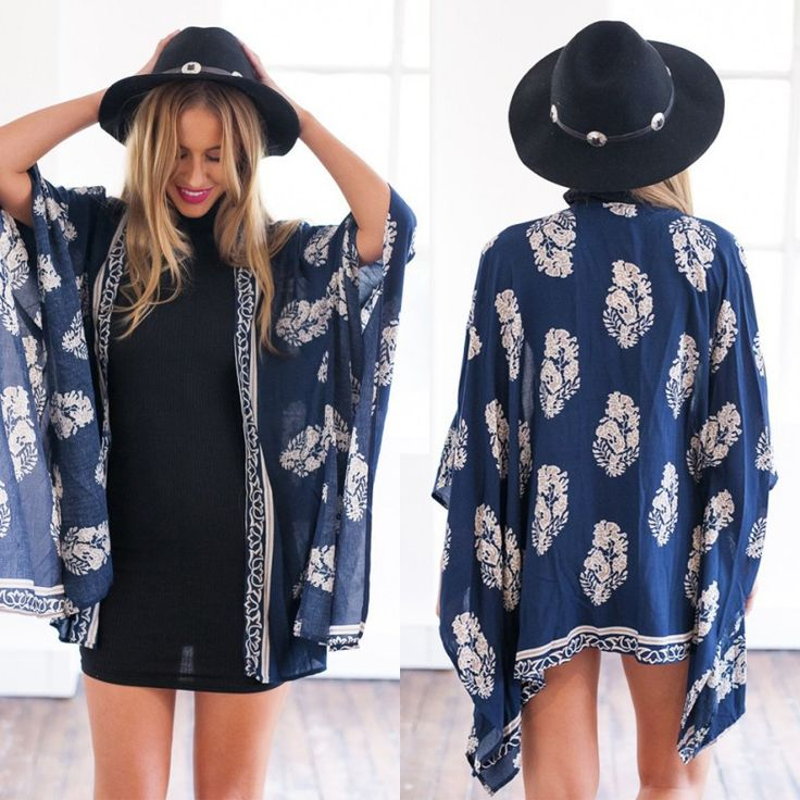 "Dark Blue Printed Cardigan KimonoMake your special occasions memorable with shopping at ZNU. Use coupon code ""znu"" at checkout to save 20% off your entire purchase."