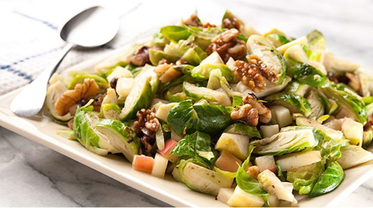 Warm Brussels Sprout Salad with Apple and Walnuts