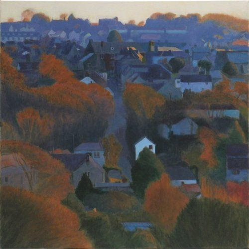 dusk_bridge_hill 100 x 100 Tom Henderson Smith. Click the picture or 'visit site' to access a link to its Artstack page where there are 'zoom' and 'view in room' facilities.