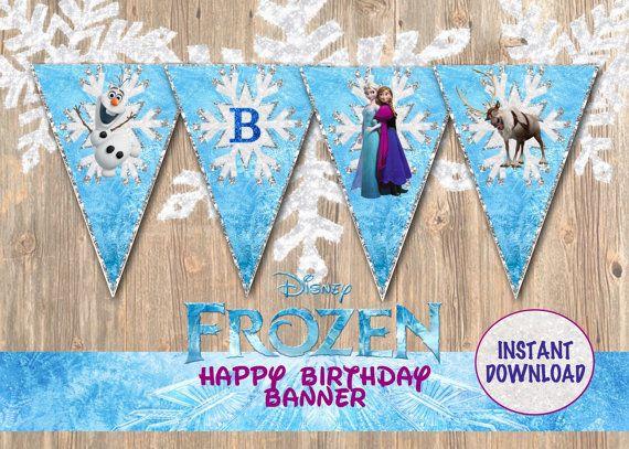Frozen Birthday Banner, Frozen Banner, Frozen Birthday Supplies, Frozen Party Favor, Disney Frozen, Disney Movie, Disney Birthday Banner on Etsy, $4.89