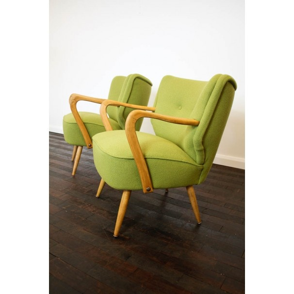 £445 Pair of Beech framed cocktail chairs beautifully re-upholstered in a Bute wool. Only one left!    http://www.johnnymoustache.com/our-collection/vintage-furniture/1950s-cocktail-chair.html