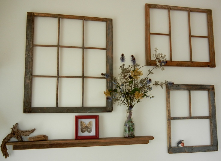 As is old window frames beach glass some drift wood wild