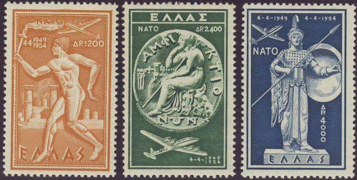 Greece (Kingdom 1935 to 1967). Griechenland 1954, Nato, postfrisch Pracht (postfr., Mi.-Nr.615-617/Mi.EUR 130,--). Price Estimate (8/2016): 30 EUR.