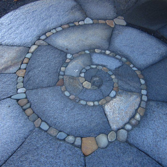Spiral Patio, Walkway, Low Retaining Wall, And Curved Steps