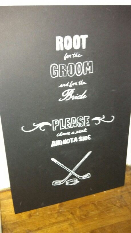 Last minute signage for tomorrows hockey themed wedding.