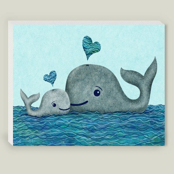 Whale Mom and Baby Wrapped Canvas Print by elephanttrunkstudio on BoomBoomPrints