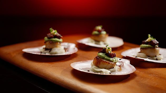 MKR4 Recipe - Seared Scallops with Caramelised Chorizo, Pickled Apple and Lime Mayonnaise