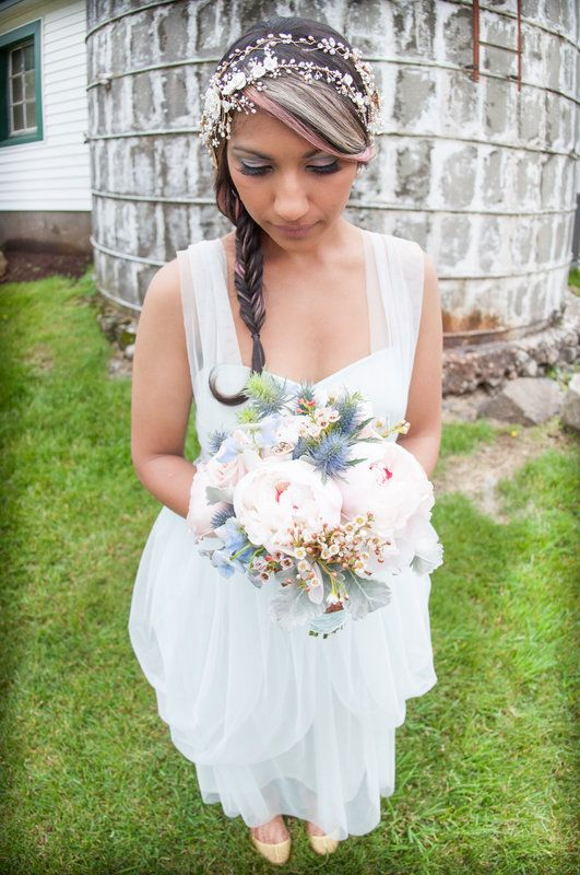 Unique blue and pink bridal bouquet Jenica+Josh Photo By Sherry Sutton Photography