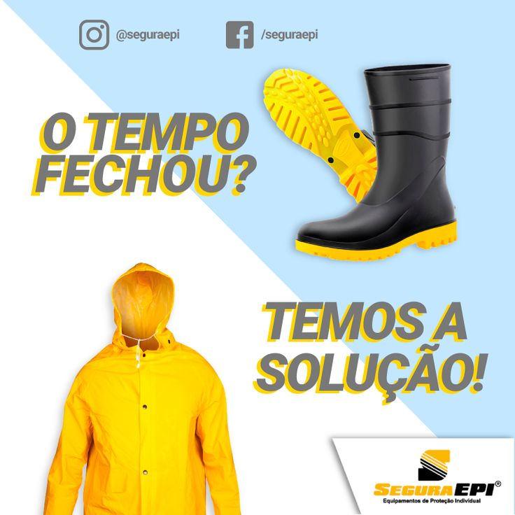 Botas de PVC e capas de chuva à demanda de atacado. Proteção contra chuva é com a Segura EPI. #chuva #EPI #BotaPVC #CapaDeChuva