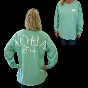"""Mint """"game day"""" jersey by Quarter Horse Outfitters. Such a cute and carefree look for equestrians!"""