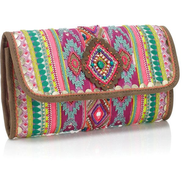 Accessorize Sarah Selinas Neon Clutch (1,230 EGP) ❤ liked on Polyvore featuring bags, handbags, clutches, neon clutches, fold over purse, embellished purse, beaded handbag and beaded clutches