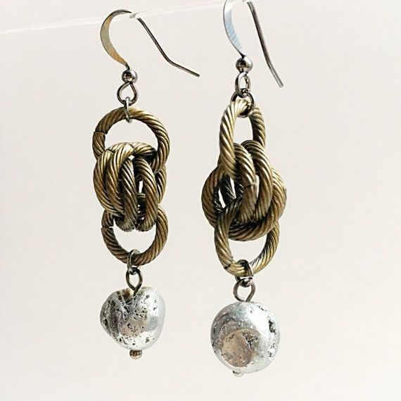Druzy Stone Etched Maille Earrings by VexedUpBoutique on Etsy