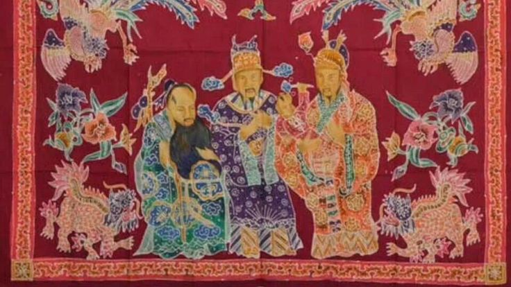 "Peranakan batik print made in Pekalongan N.E.Java, of ""FU LU SHOU""/ LUCK, PROSPERITY & LONGLIVITY..."