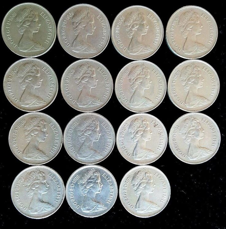 Vintage British Empire 15 coin lot of 10 Pence 1968-1976