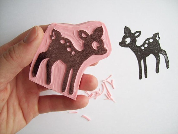 Little Deer Hand Carved Rubber Stamp by DolceCaramella.etsy