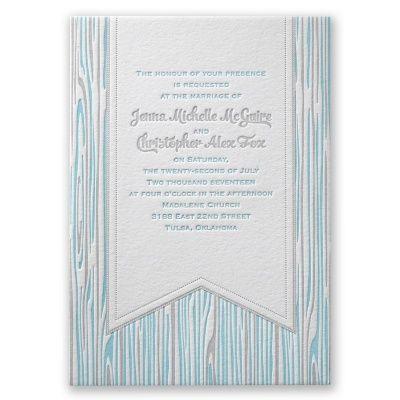 Rustic Wood Grain - Letterpress Wedding Invitation at Invitations By Dawn