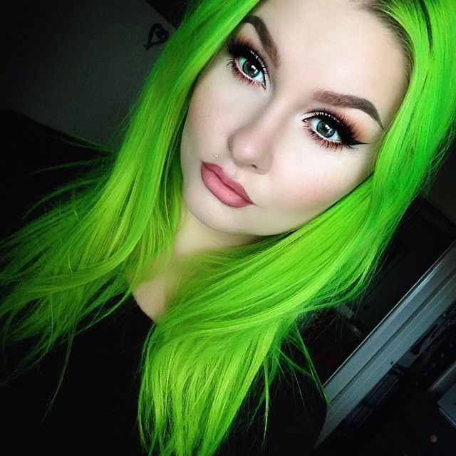 Intense lime green hair
