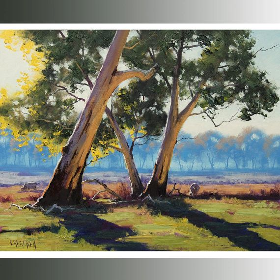 GUM TREES PAINTING Australian artwork by GerckenGallery on Etsy, $159.00