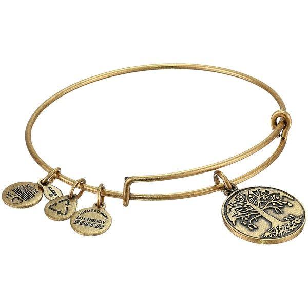 Alex and Ani Tree of Life Charm Bangle Bracelet ($17) ❤ liked on Polyvore featuring jewelry, bracelets, gold, hinged bangle, adjustable bangle, charm bracelet bangle, bangle charm bracelet and yellow gold charms